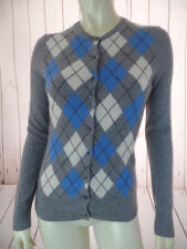 Tweeds Cashmere Sweater S Gray Heather White Blue Argyle 2-Ply Button Front
