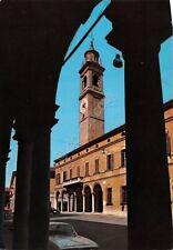 Cartolina Viadana Palazzo Municipale Torre Civica veduta dai portici