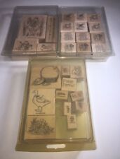 Lot Of 3 STAMPIN UP! Stamp Sets- 27 Total Stamps- Frogs, Flowers, Spring, Love