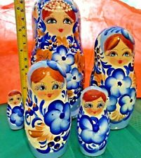 Russian miniature Nesting Doll - 5 dolls hand painted - Blue Flower Girl