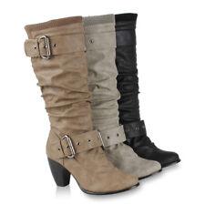 Moderne Damen Stiefel Warm Gefütterte Hochschaft Strick 98236 Gr. 36-41 Schuhe