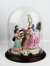 "ANTIQUE GERMAN LACE PORCELAIN GROUP OF FIGURES 14"" GLASS DOME CROWN ""N"" MARK"