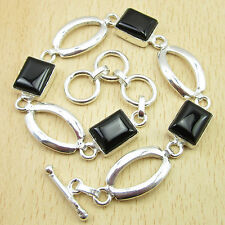 "Original Black Onyx Birthstone Bracelet 8"" Give The Gift ! 925 Silver Plated"