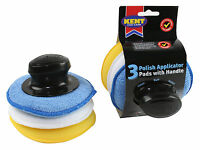 3 pcs Microfibre Sponge Foam Polish Wax Cleaning Applicator Pads & Handle Set
