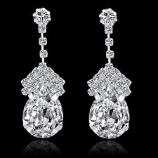 GORGEOUS 18K WHITE GOLD PLATED CLEAR AUSTRIAN CRYSTAL LONG DANGLE  EARRINGS