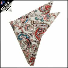 Cream with Red Floral Paisley Pocket Square Handkerchief Hanky