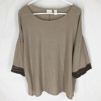 NWT CHICO'S Boxey Sloane 3/4 Sleeve Casual Top Size 2 NEW WITH TAGS