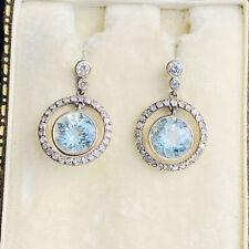 Fabulous 18ct, 18k, 750 Gold, Aquamarine and Diamond drop / dangle earrings