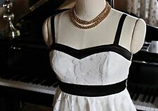 Women's Cocktail DRESS Sz. 8 STRAPLESS WHITE LACE/BLACK SATIN FITTED NEW w TAGS