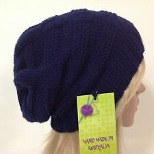 HAND KNITTED  LADIES NAVY BLUE EUROPEAN MERINO WOOL SLOUCHY BEANIE SIZE LARGE