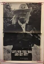 Vintage Poster General Custer Let's Win This War And Get Out 70s Headshop Pin-up