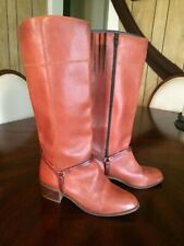 Vintage 70s Town Country Brown Leather Tall Knee Riding Harness Boots Zipper 9