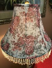 """Large Shabby Chic Floral~Rose 2 1/2"""" Beads Fringe Fabric Lampshade~New Old Stock"""