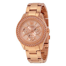 NWT ~ FOSSIL Stella Multifunction Rose-Tone ~ SS ~ BLING ~Watch ~ ES3590
