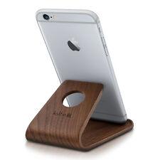 kalibri Echtholz Handy Ständer für Smartphones Walnussholz Dunkelbraun Tisch