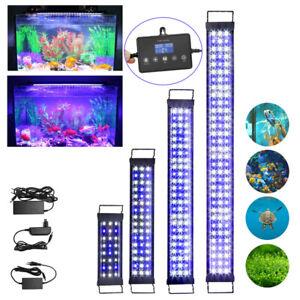 LED Aquarium Beleuchtung 30-120cm Weiß+Blau Aufsetzleuchte Mollusken