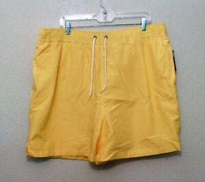 Roundtree & Yorke Swim Shorts XL Yellow Trunks Elastic Waist Pockets NEW