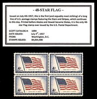 1957 - 48-STAR FLAG -  Block of Four Vintage U.S. Postage Stamps