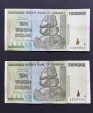 Two 10 Trillion Dollar Zimbabwe Note. Used