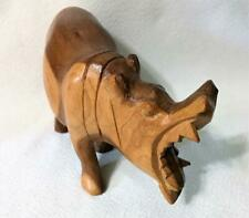 "Hand Carved Wood Hippopotamus Figurine Solid Wood 7"" Long Vintage"