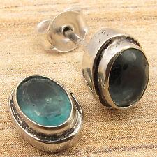 Green APATITE Gemstone INDIAN JEWELLERS GIRLS' Stud Earrings 925 Silver Overlay