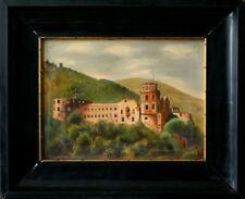 L.Raab 1917 Antike Ölgemalde Schloss signiert und datiert Schöneswerk