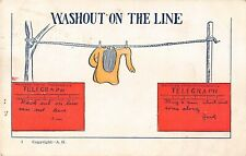 1909 Comic Postcard of Laundry on Clothes Line-Washout On The Line-Telegrams