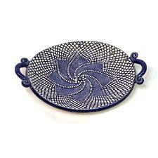Retired Anthropologie Pottery Trinket Dish - Signed, Geometric Design Blue Cream