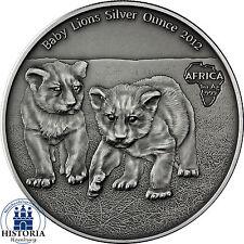 2012 - BABY LION SILVER OUNCE - Gabon 1000 Francs Antique Finish 1 Oz Coin