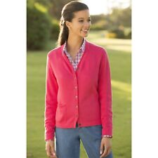 b1f3f98b7a Orvis Women XL Pink V-Neck Cardigan Rolled Edge Cottage Cotton Soft Weighty