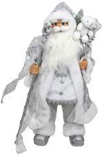 Northlight Standing White Silver Santa Claus Staff Gift Bag Christmas Figure