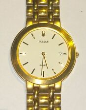 NEU !!! Original - Pulsar Quarz Armbanduhr mit Metallband matt + Datum Analog