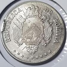 Bolivia 1872 FE Lustrous Silver Boliviano KM 155.4 #101
