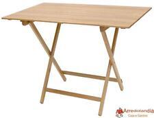 Tavolo tavolino pieghevole richiudibile legno naturale 100x60 cm in faggio con l