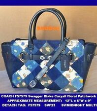 COACH F57579 Swagger Blake Caryall lV Floral Patchwork Leather Blue Denim NWT