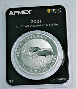 NEW! 2021 Fraser's Dolphin .999 1 oz Silver PCGS Australia t BU in TEP