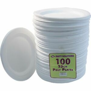 """100pc White Foam Plates Disposable Catering Parties Party Supplies Food 9"""" 23cm"""