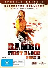 RAMBO - FIRST BLOOD - PART II - Sylvester Stallone-  Region 2 & 4  DVD  VG