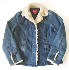 Esprit Womans Small Denim Jean Jacket Winter Button Up Coat Faux Fur Trim