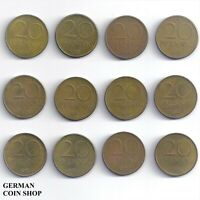 DDR - Set 12 verschiedene 20 Pfennig 1969 - 1989 A Messing