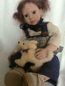 Zwergnase Puppe Mädchen 1998 mit Mohair-Hund limitiert 155/250 44 cm Top