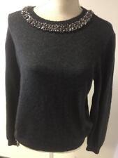 Topshop Womens Grey Embellished Jumper Size 14 (41)