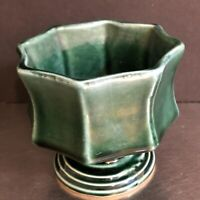 VTG Hull Planter Vase Green Drip Glaze F3 Made USA Mid Century Modern Home Decor