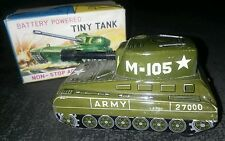 WORKING VINTAGE WACO JAPANESE BATTERY OPERATED TIN TOY TINY TANK IN ORIGINAL BOX
