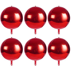 4D Balloons 6Pcs 22 inch Mylar Foil Balloons Round Sphere Foil Balloon, Great