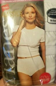1 Pack of 3 Women White Brief hi cut by Hanes size 7