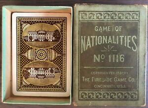 Antique 1897 CARD GAME OF NATIONALITIES THE FIRESIDE GAME COMPANY NO. 1116