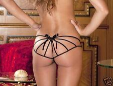 Black Crotchless Cage Back Boy Short Rene Rofe Female Intimates Lingerie S/M