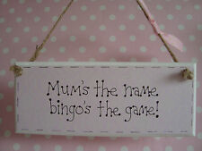 Handmade Hanging Mum Bingo Sign Plaque Ideal Gift For Mum Mothers Day Present