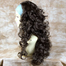 Wiwigs Dark Coffee Brown 3/4 Fall Long Layered Curly Hairpiece Half Ladies Wig